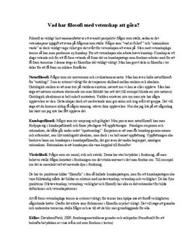 Filosofi och vetenskap | Inlämningsuppgift
