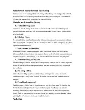 Fördelar och nackdelar med franchising | Inlämningsuppgift
