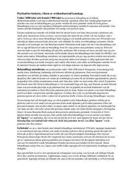 Psykiatrins historia | Fördjupningsuppgift