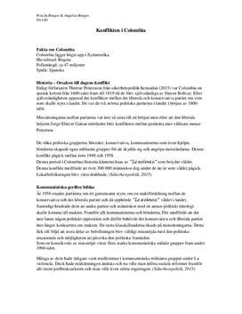 Konflikten i Colombia | Fördjupningsuppgift