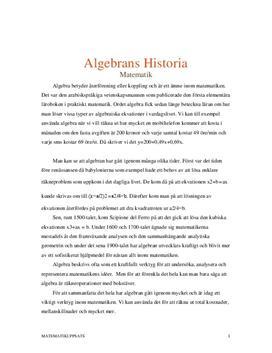 Algebrans historia   Inlämningsuppgift