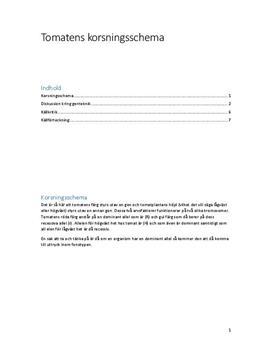 Korsningsschema och genteknik | Fördjupningsuppgift