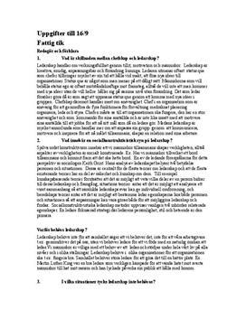 Organisation och ledarskap | Instuderingsfrågor