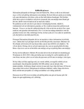 Källkritik av ne.se | Inlämningsuppgift
