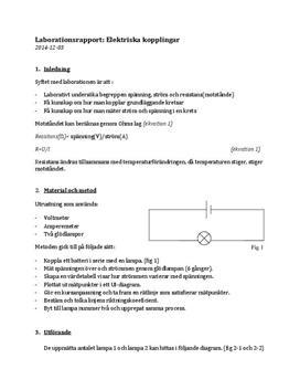 Elektriska kopplingar | Labbrapport