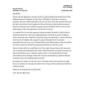 Letter to college   Harvard University