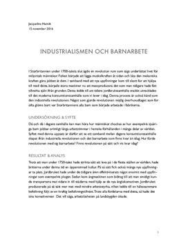 Industrialismen och barnarbete | Fördjupningsarbete
