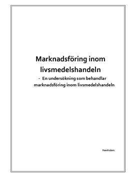Marknadsföring inom livsmedelshandeln | Undersökning