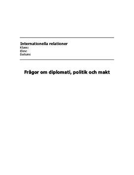 Diplomati, politik och makt | Fördjupningsarbete
