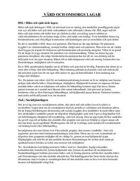 Vård- och omsorgslagar | Inlämningsuppgift
