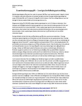 Sveriges befolkningsutveckling   Fördjupningsuppgift