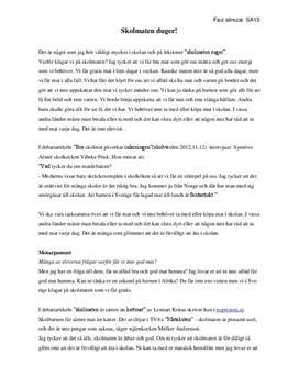 Skolmaten duger | Argumenterande text