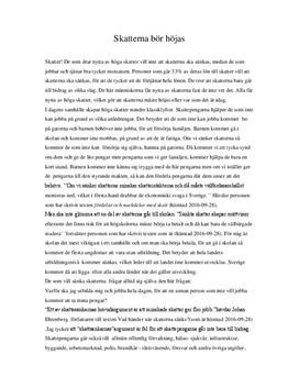 Höj skatterna | Argumenterande text