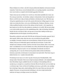 Gladiator som historisk källa | Analys