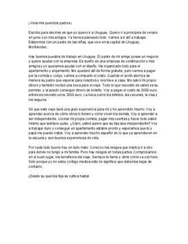Brev till förälder på spanska | Inlämningsuppgift