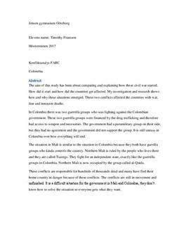 Colombiakrisen, FARC och den ekonomiska faktorn | Fördjupningsarbete