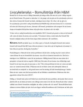 Bomullströja från H&M | Livscykelanalys