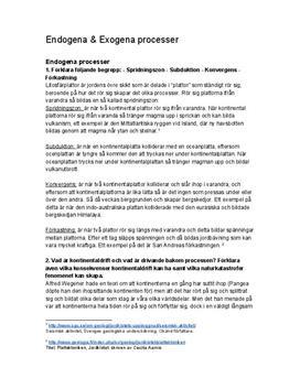 Endogena och exogena processer | Instuderingsfrågor