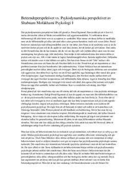 Beteendeperspektivet och det psykodynamiska perspektivet   Jämförelse