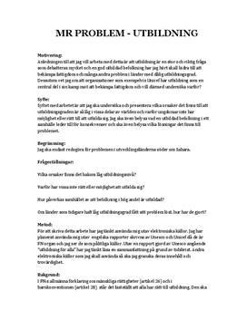 Mänskliga rättigheter - Utbildning   Fördjupningsuppgift