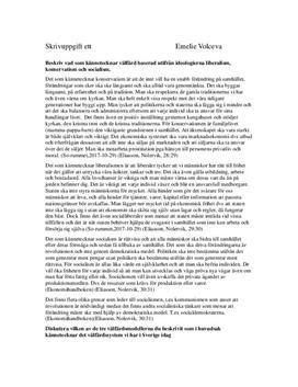 Ideologier och välfärd | Inlämningsuppgift