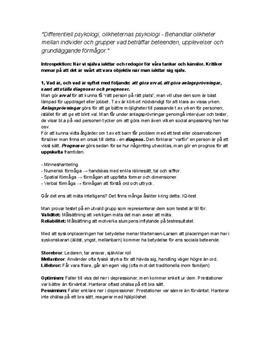 Differentiell psykologi | Instuderingsfrågor