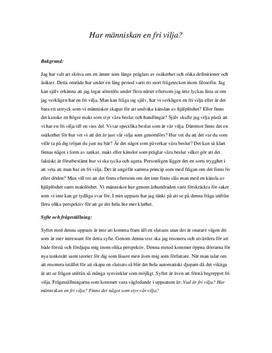 Människan och den fria viljan | Diskuterande text