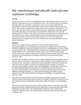 pH-värden och dess effekt på sojabönors växtförmåga | Labbrapport