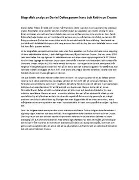 Daniel Defoe | Biografisk analys