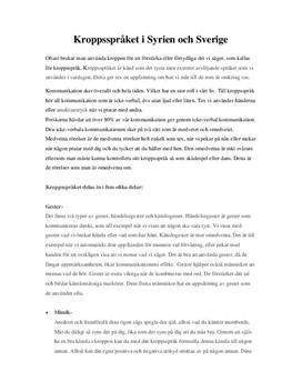 Kroppsspråket i Sverige och Syrien   Jämförelse