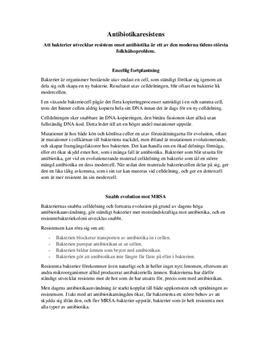 MRSA och antibiotikaresistens | Fördjupningsuppgift